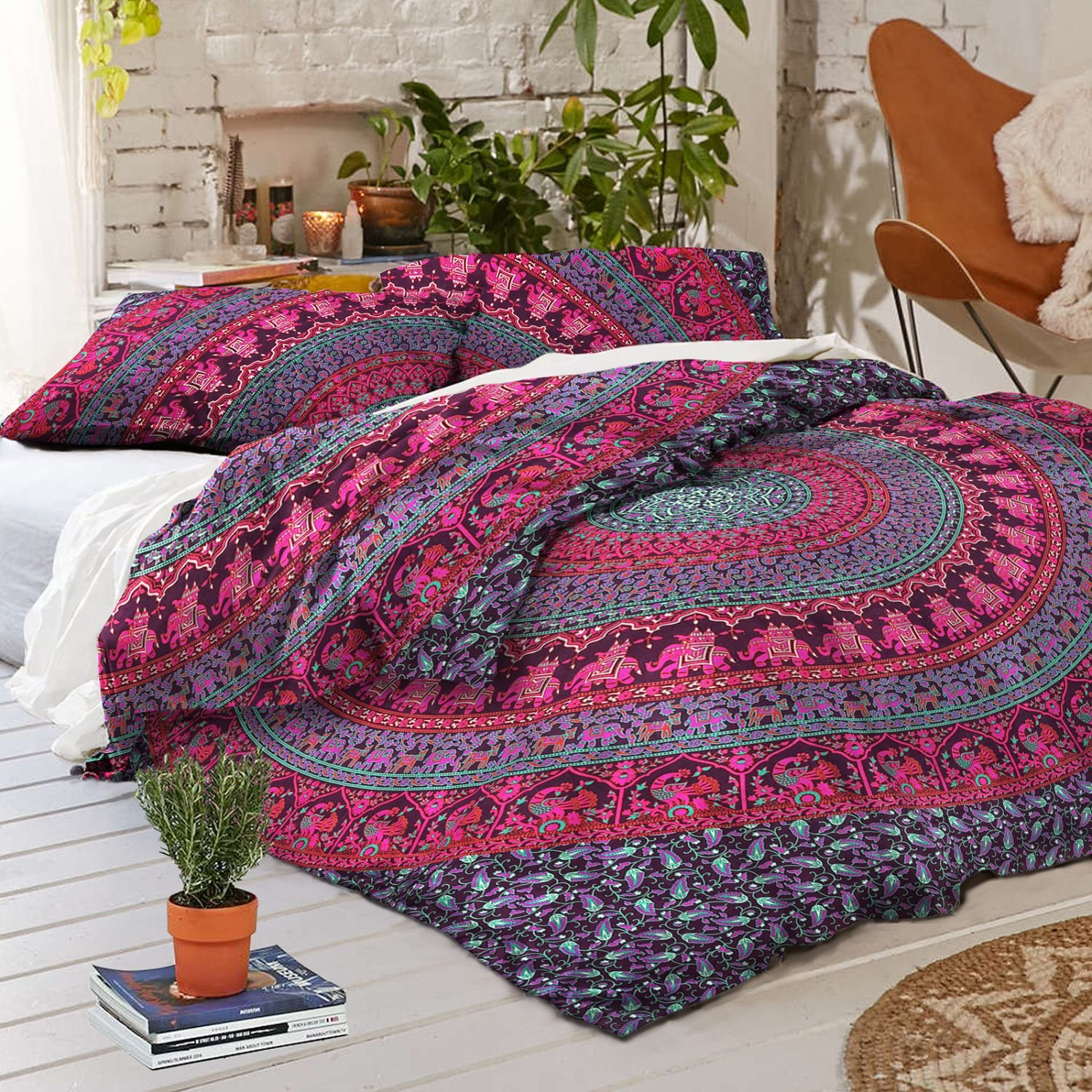 chic style with quilt duvet ease light purple cover bohemian paisley percent cotton set boho sets bedding more comforter