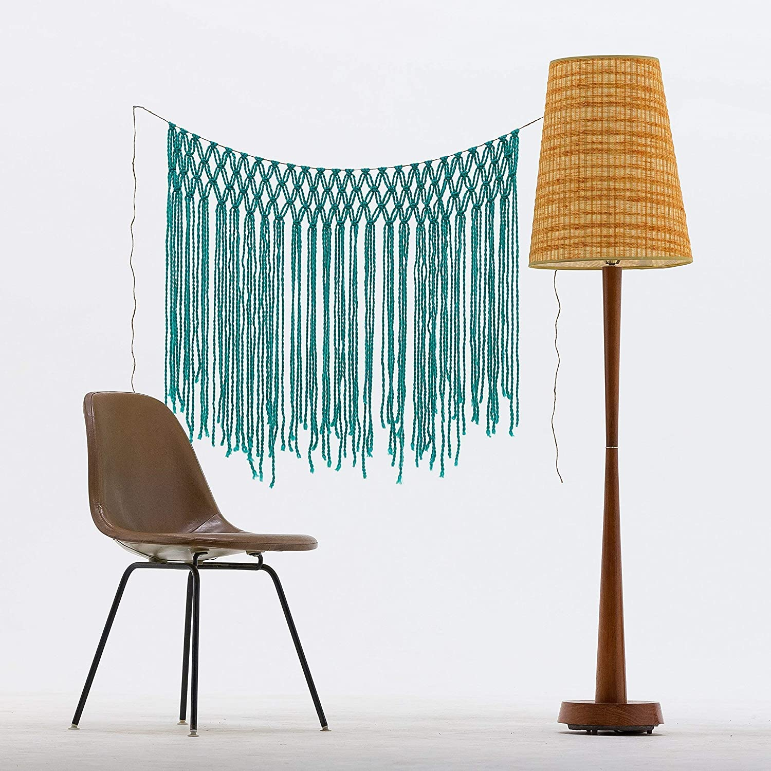 Mint Green Bohemian Yarn Macrame Wall Hanging or Window Curtain by The House Phoenix