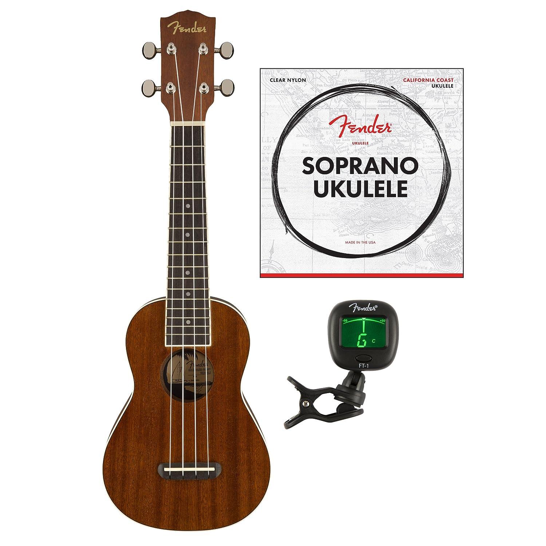Fender Seaside Soprano Ukulele, Natural (with Gig Bag)