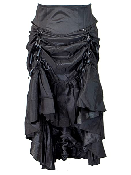 Chic Star Plus Size Black Gothic Steampunk Burlesque 3 Way Lace Up Skirt