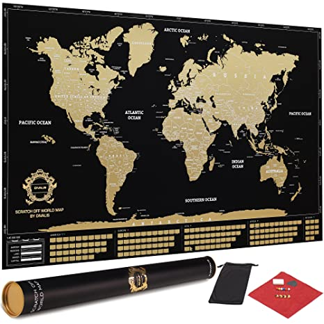 Amazon divalis scratch off world map poster with flags and us divalis scratch off world map poster with flags and us states black and gold gumiabroncs Image collections