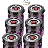 6-Pack Easy Fermentation Lid Kit, Make Pickle&Sauerkraut, galahome Waterless Airlock Fermenting Kit for Wide Mouth Mason Jars Not Crock Pots, Bonus Pump, No Mold, Black ( 2 Colors Available )