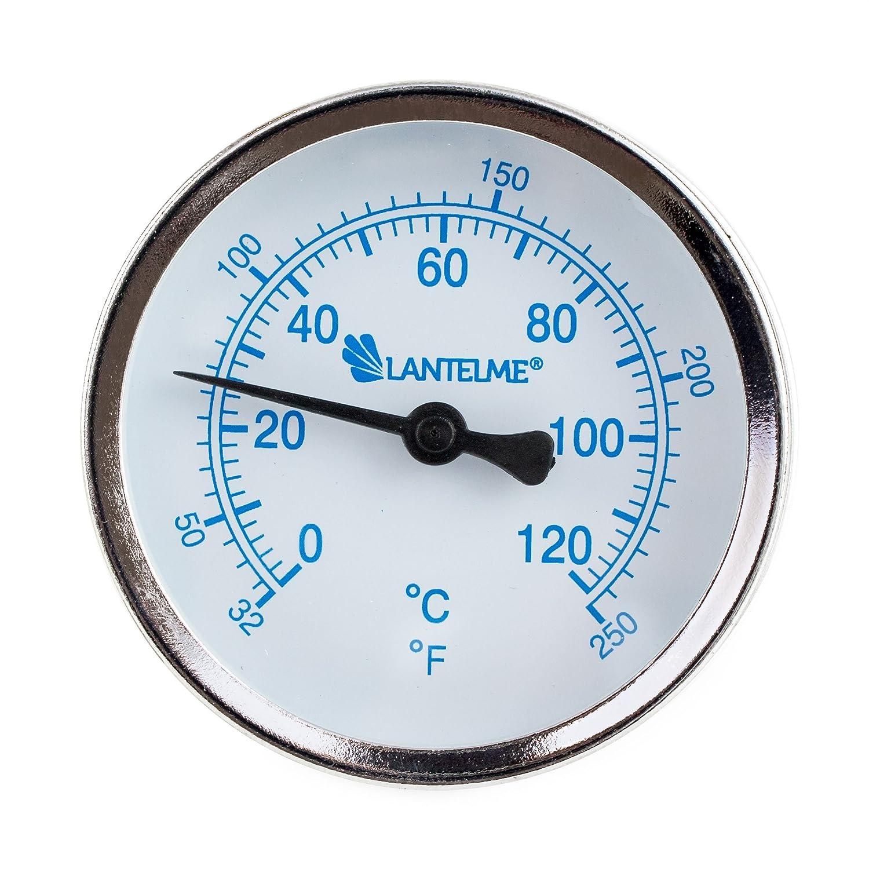 Lantelme 5927–120°C ° C Thermomètre pour chauffage avec échelle de pointeur de laiton Douille Submersible. Thermomètre bleu–Analogique et bimétal