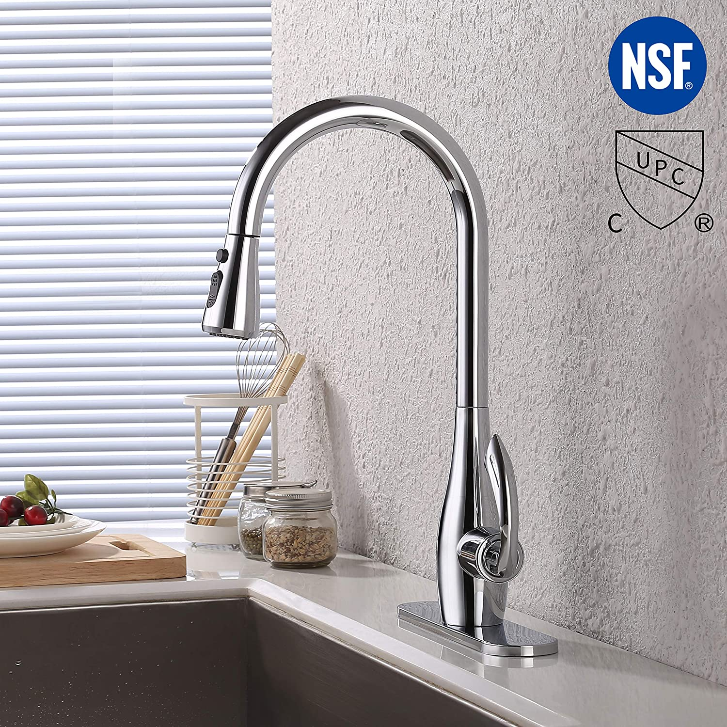 Titanium Gold L6938LF-PG KES Sanitary Ware KES cUPC NSF Certified BRASS Singel Handle Pull Down Kitchen Faucet with Retractable Pull Out Wand High Arc Swivel Spout