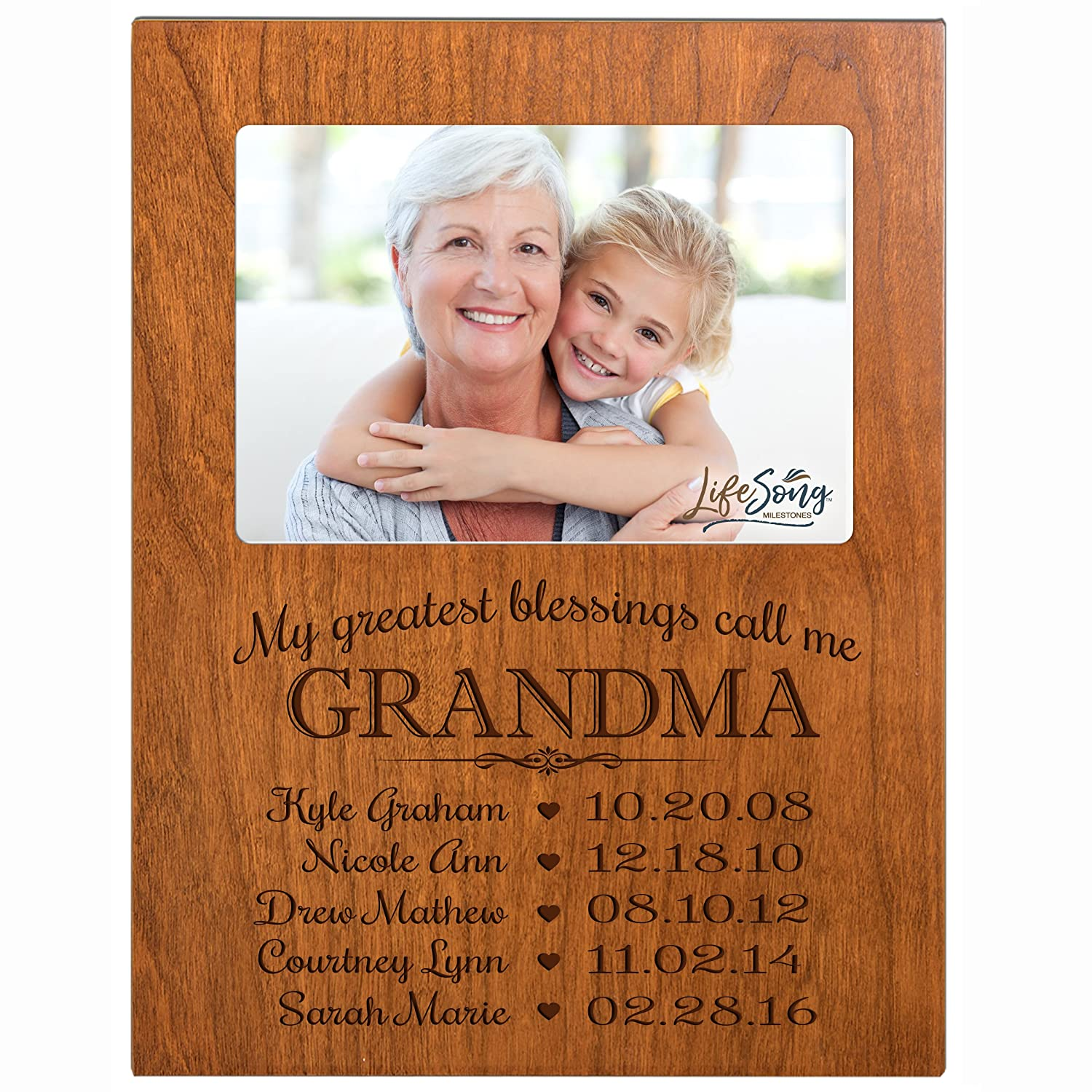 Personalized Gift for Grandma Picture Frame with children's names and kid's birth date special dates My Greatest blessings call me Grandma holds 4x6 photo by LifeSong Milestones (Cherry)