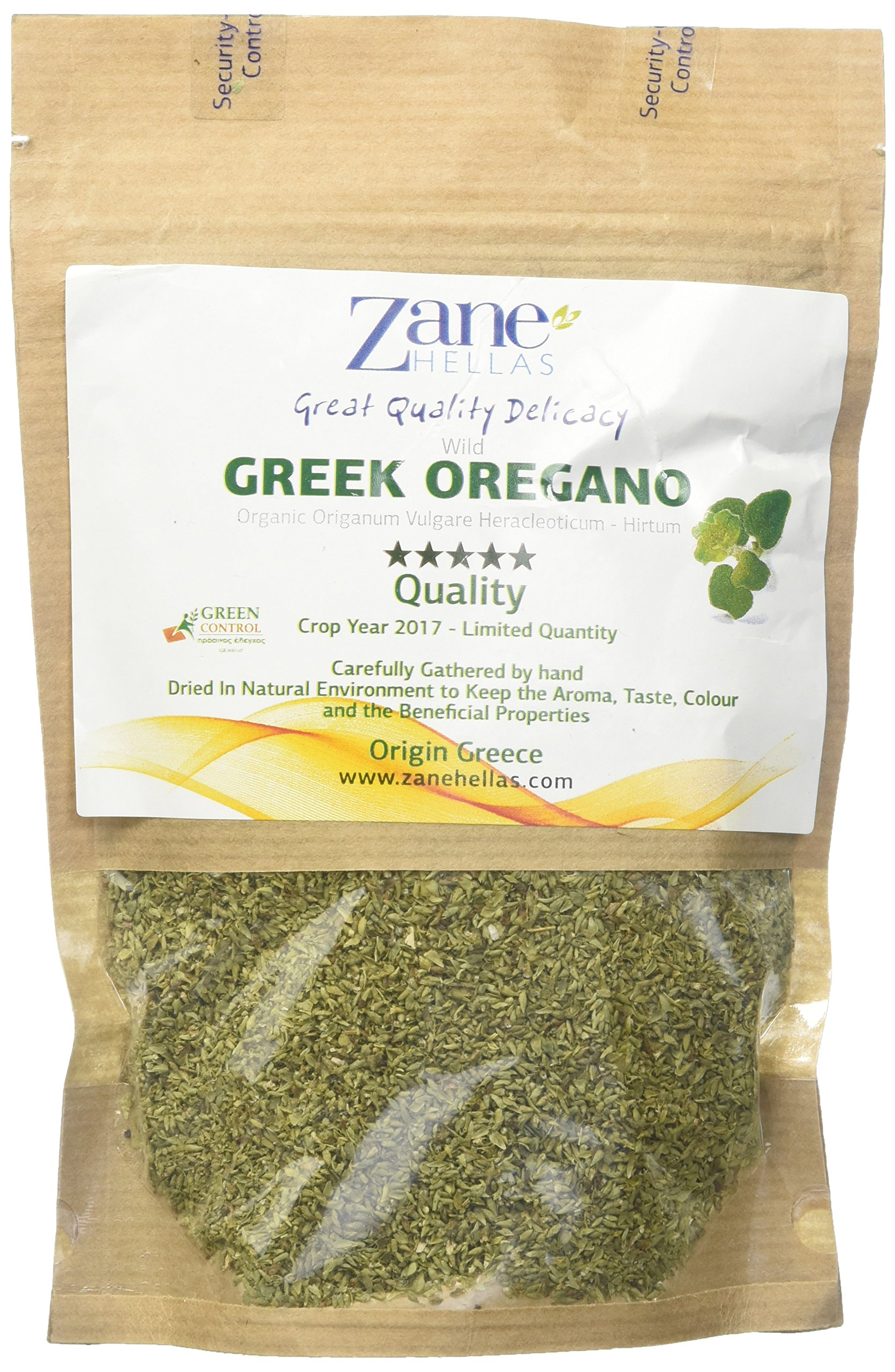 Zane Hellas Organic Culinary Greek Wild Dried Oregano Herb Leaves 1.40 oz. - 40 gr. Crop Year 2017. Limited Quantity