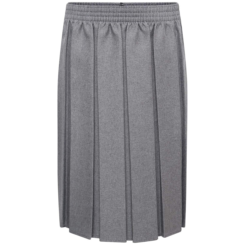 New Girls Kids Children School Uniform Box Pleat Elasticated Waist Skirt UK