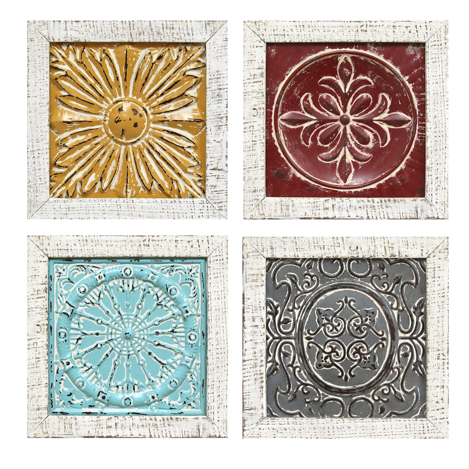 Stratton Home Decor S07709 Accent Tile Wall Art Set of 4 1200 W x 100 D x 1200 H Each Multi