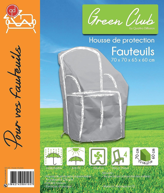 GREEN CLUB Housse de Protection pour chaises de Jardin empilables Haute qualit/é Polyester L 70 x l 65 x h 70 Couleur Anthracite