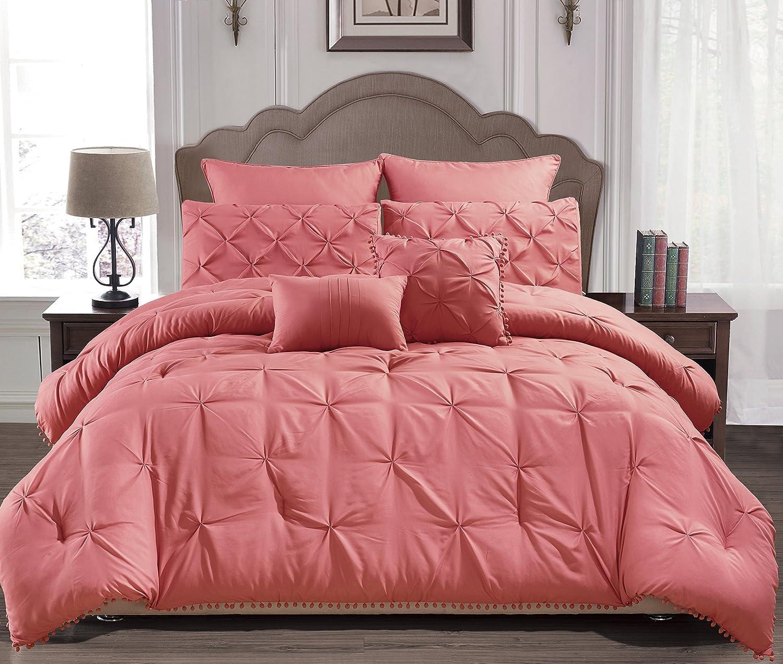 Home Maison Esmalinda Comforter Set, Queen, Salmon Red