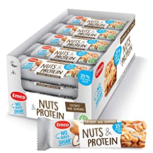 Coconut + Almonds Nuts & Protein Bars by Emco | Keto Snacks | Gluten Free, Low Carb, No Added Sugar, Vegan, Kosher | Plant-Based Protein Snack | 20 Individually Wrapped Snack Bars