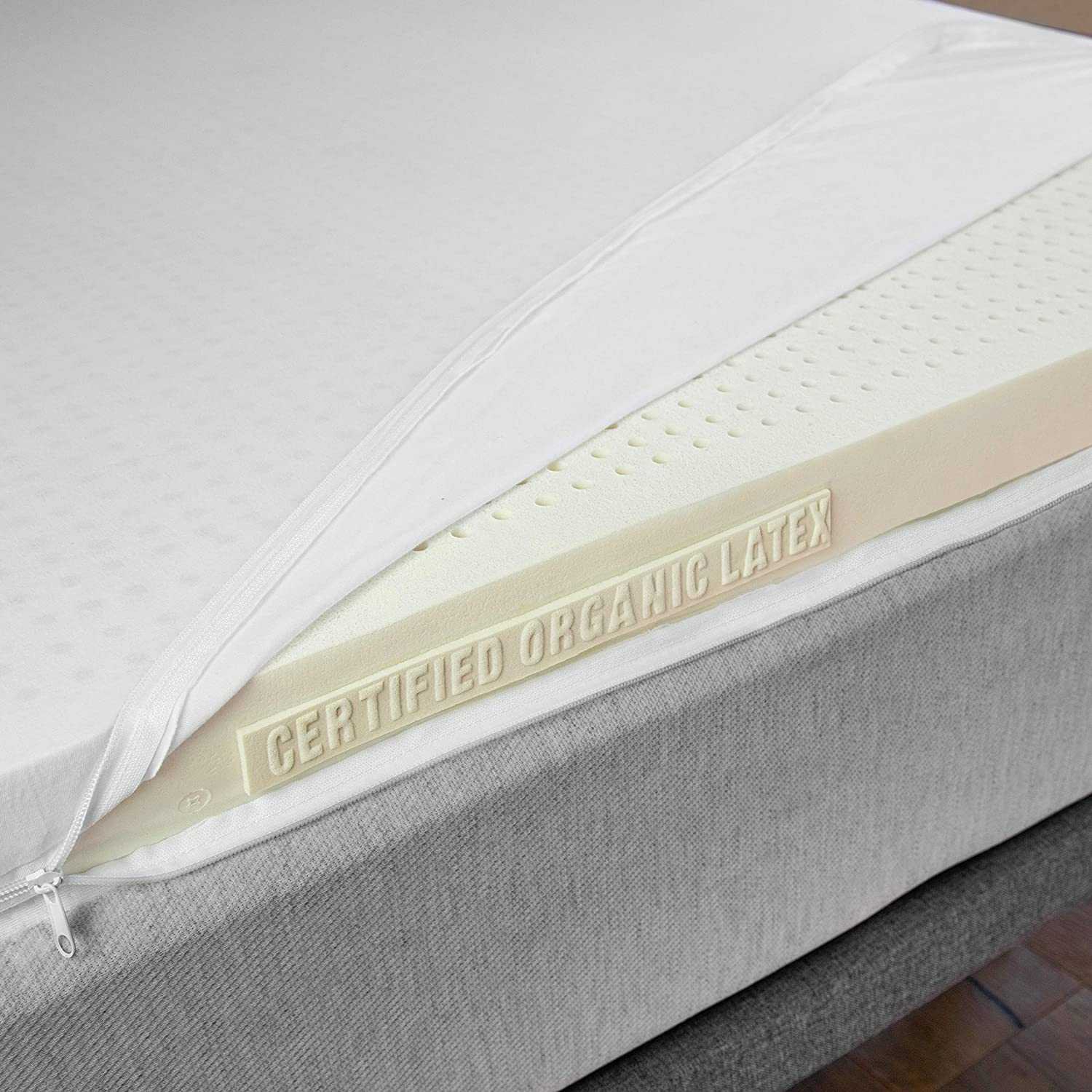 Certified Organic 100 Natural Latex Mattress Topper – Firm – 3 Inch – King Size – Organic Cotton Cover Included.