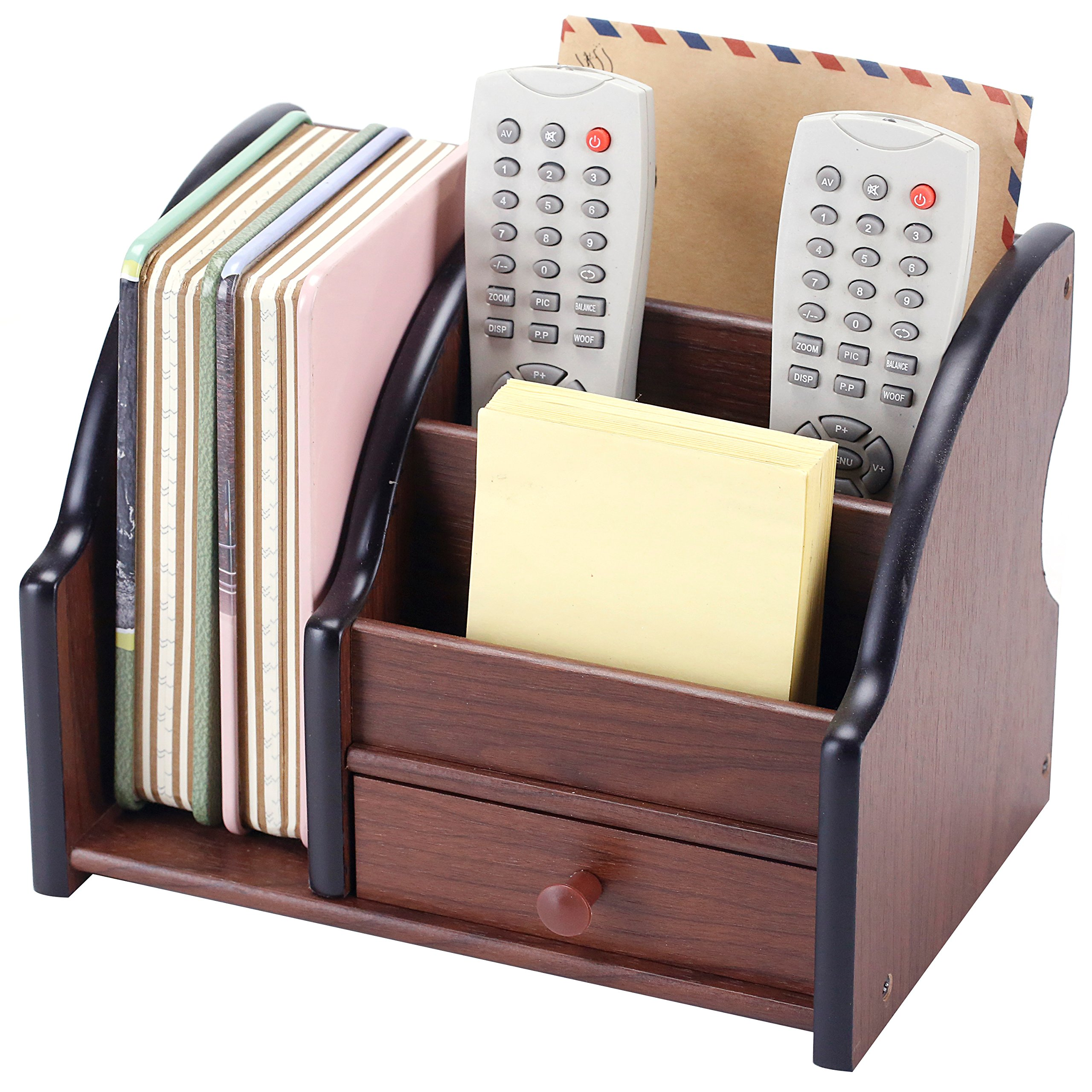 5 Compartment Wood Desktop Office Supply Organizer / Mail Holder Rack with Storage Drawer by MyGift (Image #1)