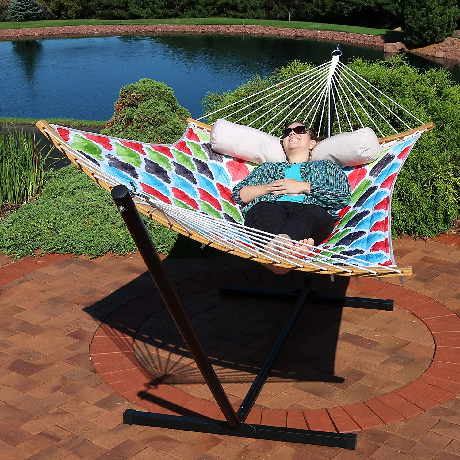 Quilted 2 Person Hammock With Curved Bamboo Spreader Bars, Heavy Duty 450 Pound