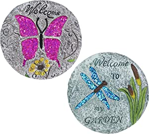 Exhart 2 Piece Set of Dragonfly and Butterfly Stepping Stones, 10 Inches