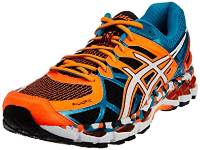 huge discount 42b1c d7727 ASICS Men s Gel-Kayano 21 Orange, White and Capri Breeze Mesh Running Shoes  -