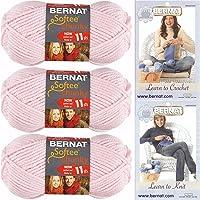 Bernat Softee Chunky Yarn Bundle Super Bulky Number 6, 3 Skeins Baby Pink 28418