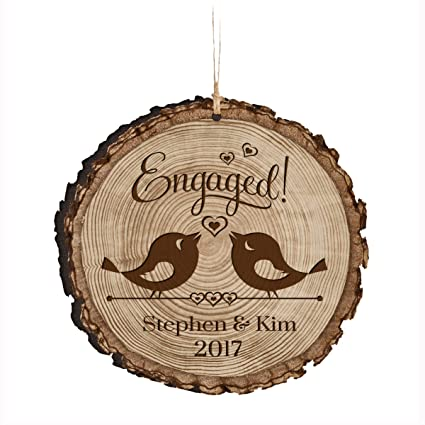 engagement keepsake gifts 2018 first christmas engaged ornament rustic newly engaged couple 1st xmas farmhouse collectible woodgrain present 3 flat circle