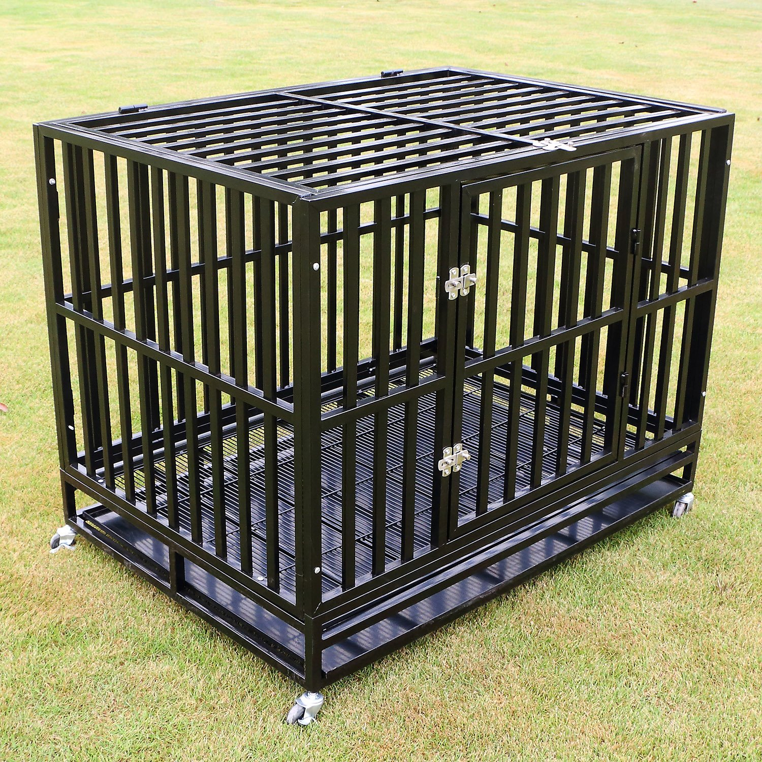 Amazon.com: sliverylake perro Jaula Crate Jaula – Heavy Duty ...