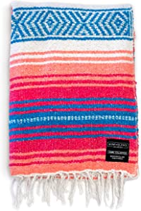 Benevolence LA Mexican Blanket Authentic Falsa -Thick Soft Woven Acrylic Yoga Serape or as Beach Throw, Picnic, Camping, Travel, Hiking, Adventure, Pillow, Blankets in Pink, Mint, Sand, Gray, Sky Blue