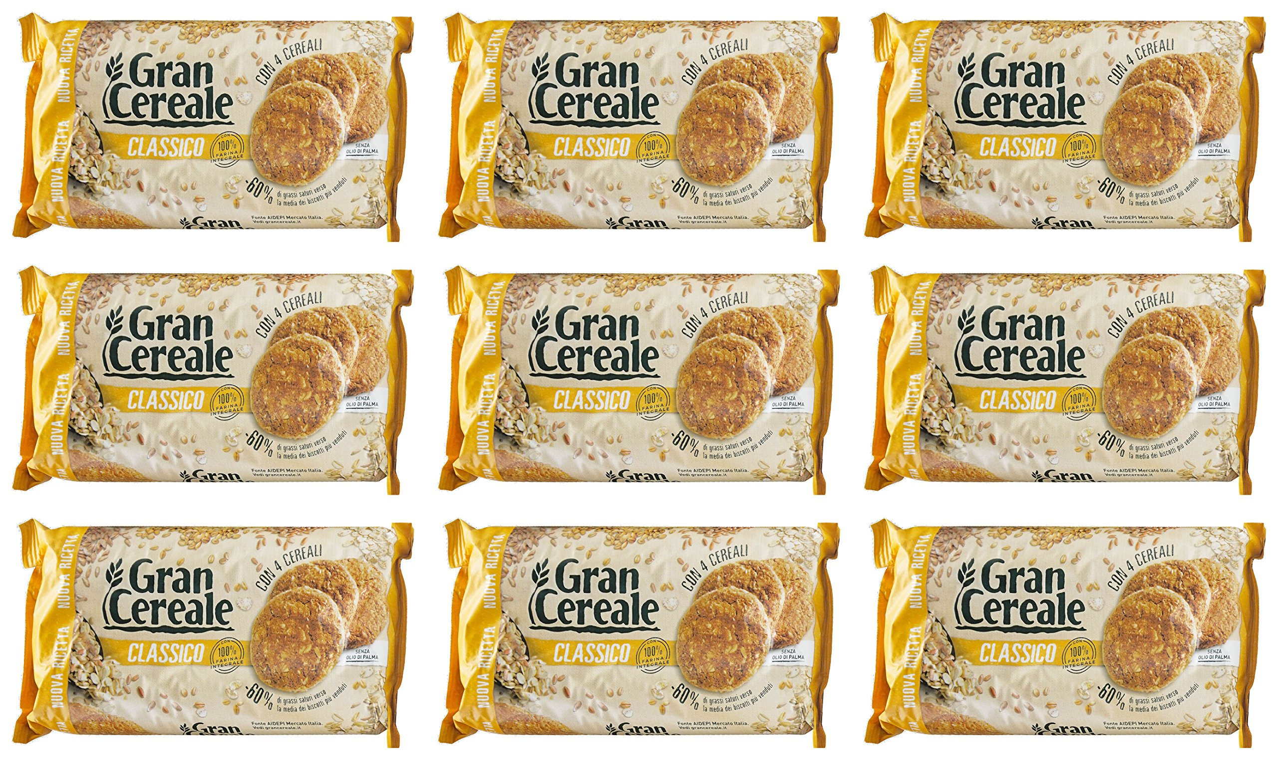 Mulino Bianco: ''Gran Cereale Classico'' Cereals Cookies (Classic Taste), High in Fibers Biscuits 17.63 Ounces (500g) Packages (Pack of 9) [ Italian Import ]