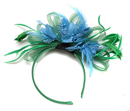 6089d9ac5425c Green and Aqua Turquoise Fascinator Headband Net Hoop Feather Hair Wedding  Royal Ascot Races  Amazon.co.uk  Clothing