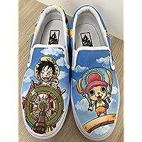 1c898ad841 One Piece Vans Anime Vans Slipon Custom Vans Shoes Custom Hand Painted  Shoes Hand Painted Vans