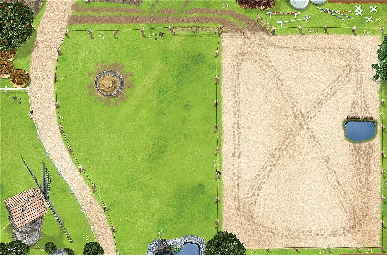 Prado de caballos dehesa para caballos Mapa del Mundo alfombra infantil de juego | SM09| De buena calidad para el cuarto de los niños | Tamaño: 150 x 100 cm | Accesorios adecuados para Schleich, Papo,