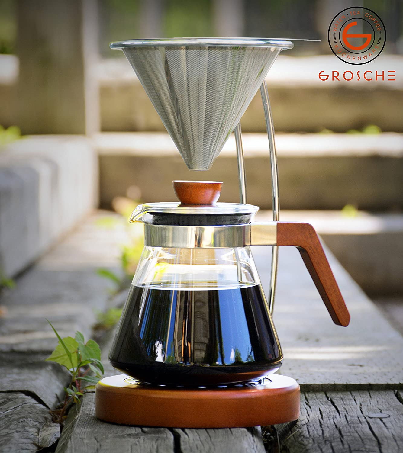GROSCHE Frankfurt Pour Over Coffee Maker System with Permanent Reusable Filter and Coffee Server. 600ml/20.3 fl. oz GR 333