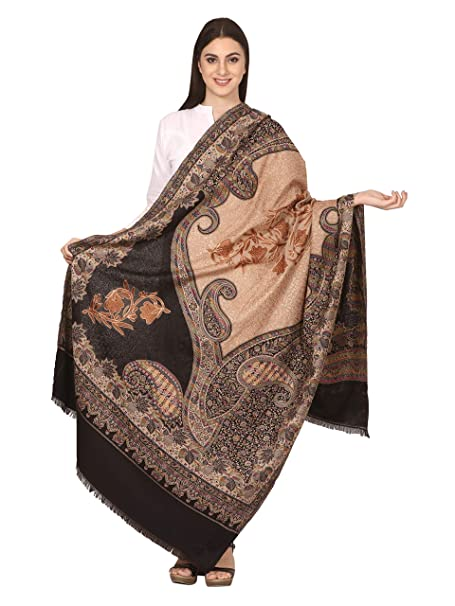 12b496d4dc Pashtush Womens Jamawar Shawl with Aari Embroidery, Silky Threadwork - Soft  Faux Pashmina: Amazon.in: Clothing & Accessories