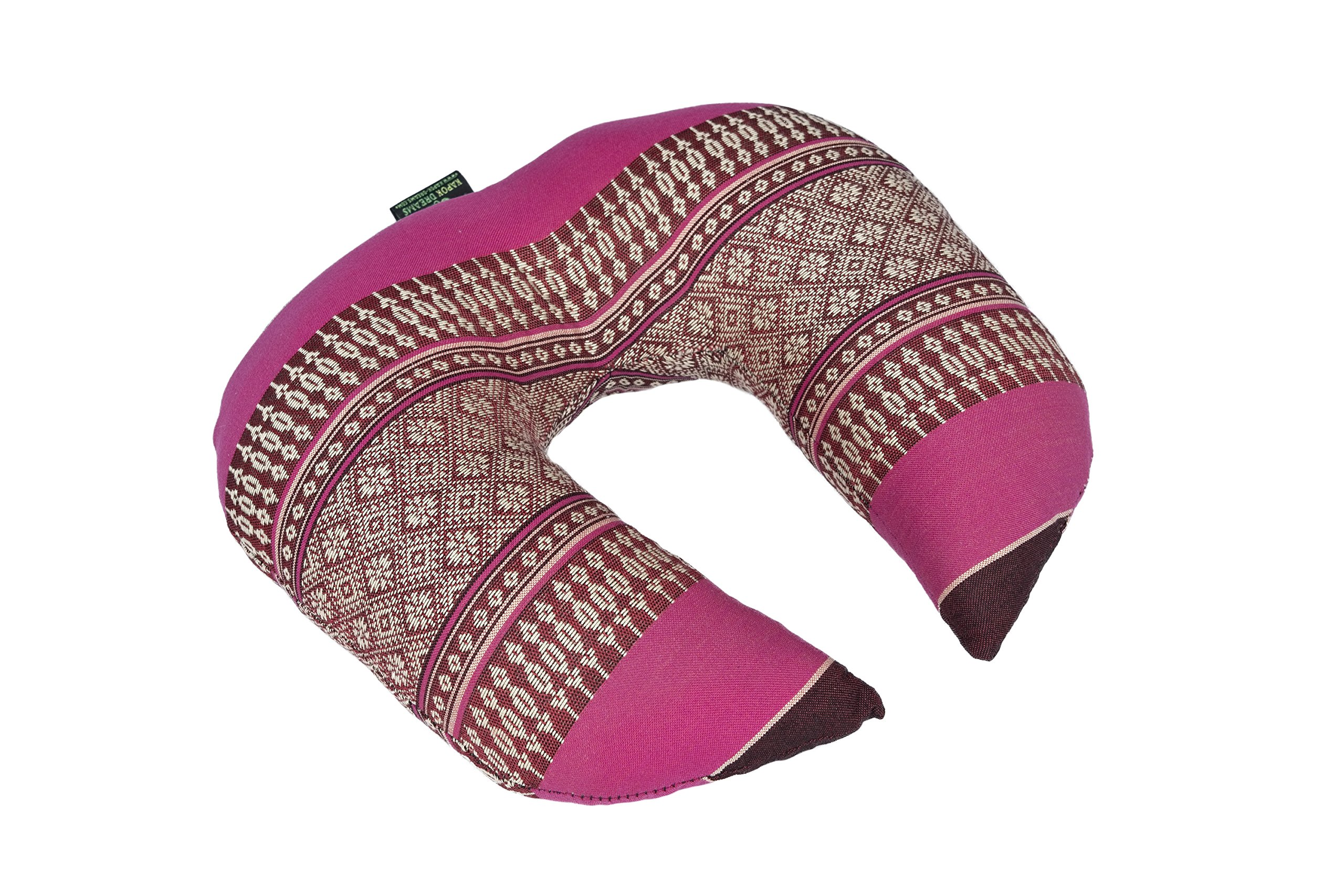 Kapok Dreams Face Cradle Cushion, 12''x11''x4'', Firm Support Pillow 100% Kapok Filled Head Rest (Burgundy Red & Pink) Thai Design.Neck Cushion