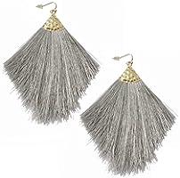 Colorful Tassel Earrings Bohemian Silky Thread Strand Feather Shape Fan Fringe Tassel Statement Dangle Drop Earrings for...