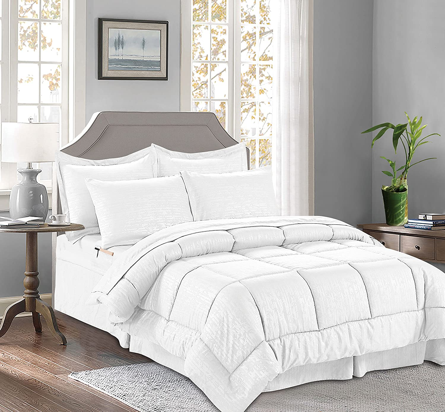 Amazon Com Celine Linen 8 Piece Bed In A Bag Comforter Silky Soft Bamboo Design Comforter Bed Sheet Set With Double Sided Storage Pockets Full Queen White Home Kitchen