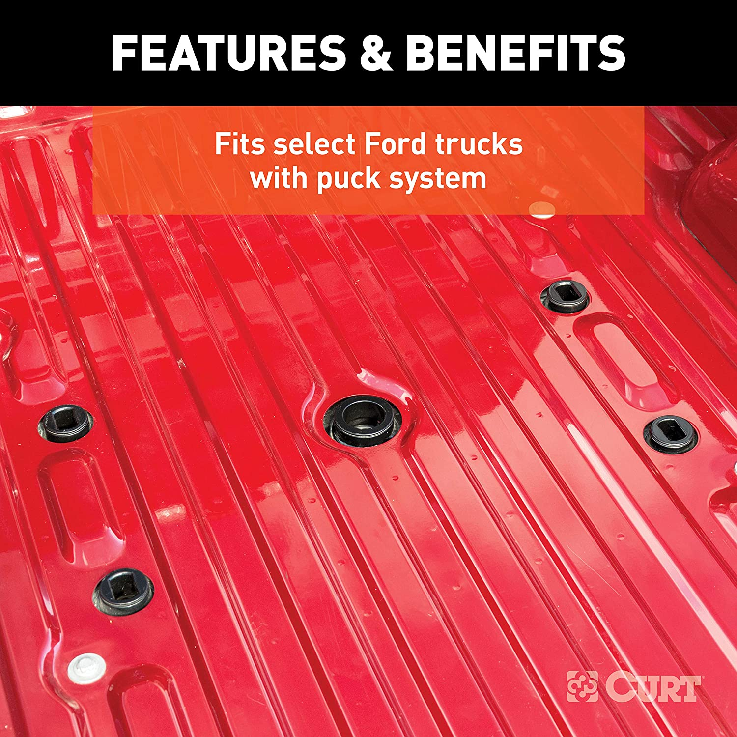 CURT 16674 E16 5th Wheel Slider Hitch for Ford Puck System Short Bed Trucks 16,000 lbs