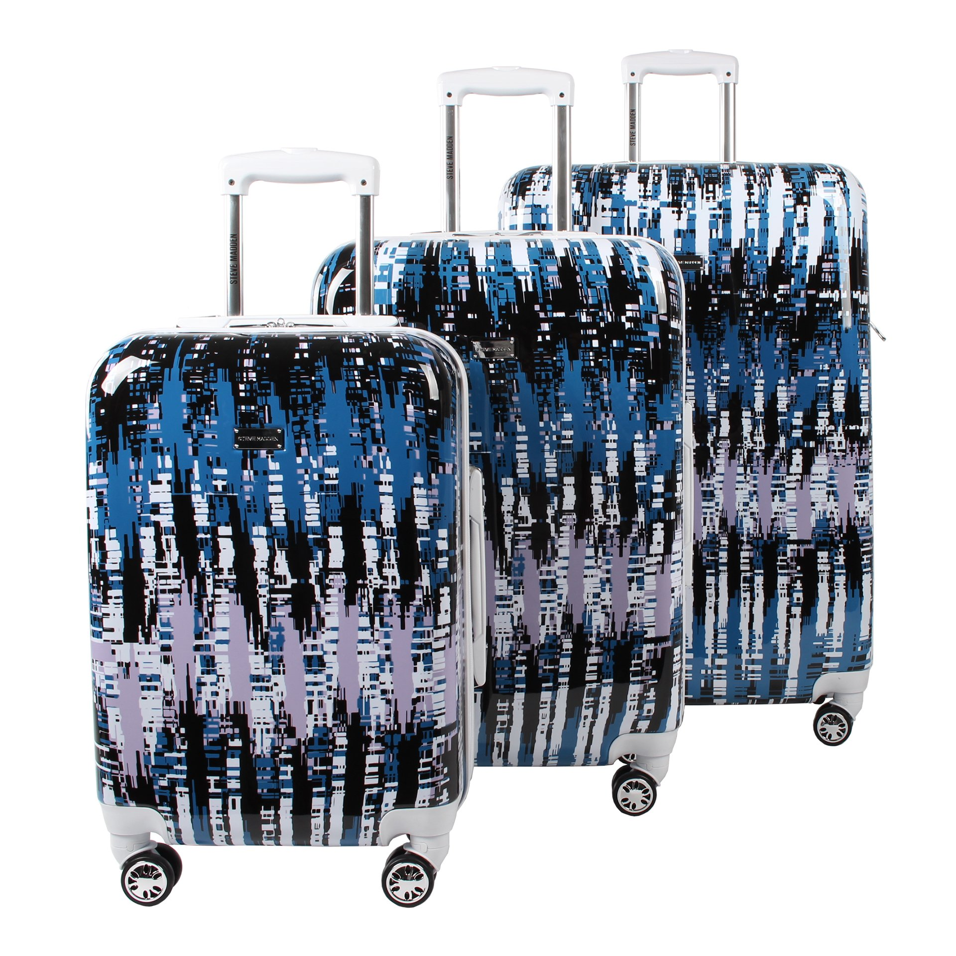 Steve Madden Luggage 3 Piece Hard Case Suitcase Set With Spinner Wheels (City Scape) by Steve Madden