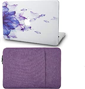 """KECC Laptop Case for MacBook Pro 13"""" (2020/2019/2018/2017/2016) with Sleeve Plastic Hard Shell A2289/A2251/A2159/A1989/A1706/A1708 Touch Bar 2 in 1 Bundle (Purple Flower)"""
