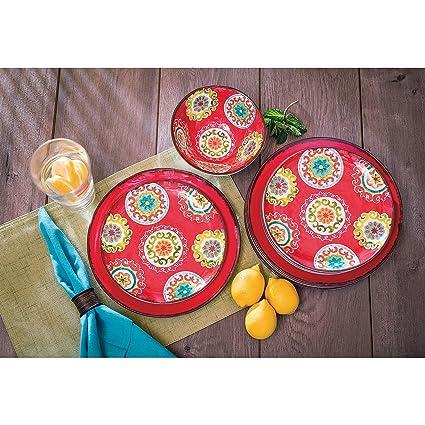18 Piece Melamine Dinnerware Set Medallion Pattern (Red)  sc 1 st  Amazon.com & Amazon.com | 18 Piece Melamine Dinnerware Set Medallion Pattern (Red ...
