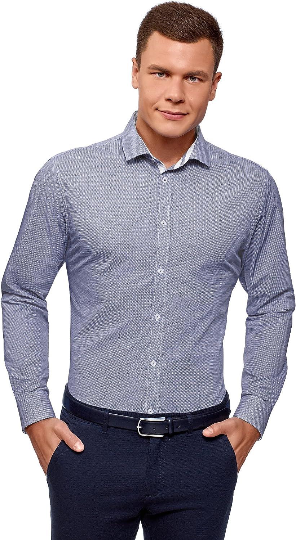 oodji Ultra Hombre Camisa Estampada de Silueta Ajustada: Amazon.es: Ropa y accesorios