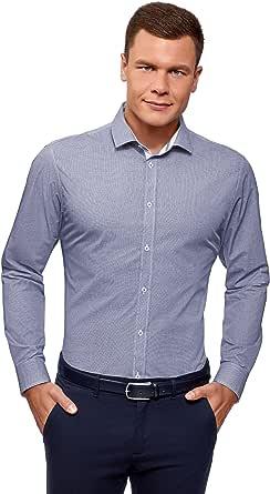 oodji Ultra Hombre Camisa Estampada de Silueta Ajustada