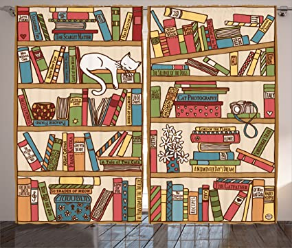 Ambesonne Cat Lover Decor Curtains Nerd Book Kitty Sleeping Over Bookshelf In Library Academics
