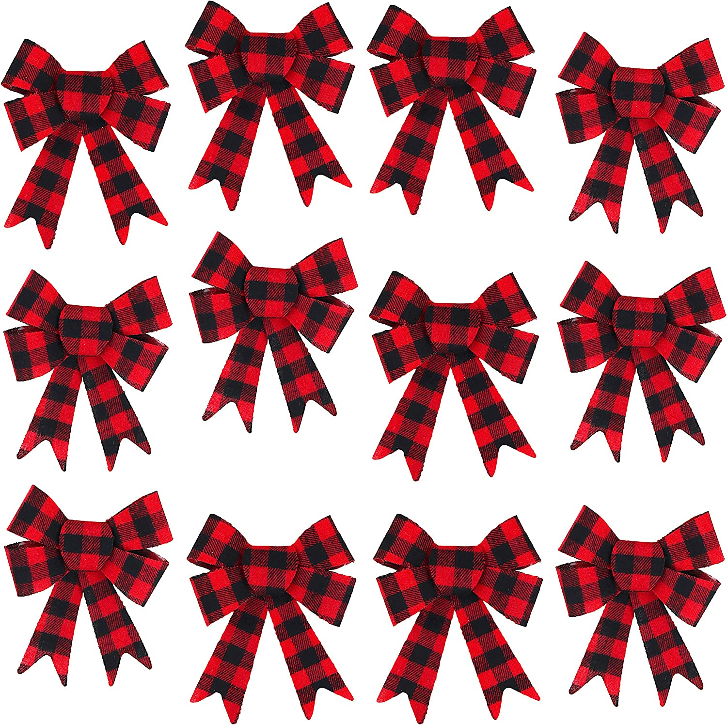 Iconikal 5-Loop Red Buffalo Plaid Flannel Bows 5 x 7-Inch, 12-Pack