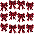 Iconikal 5-Loop Red Buffalo Plaid Flannel Bows 5 x 7-Inch 12-Pack