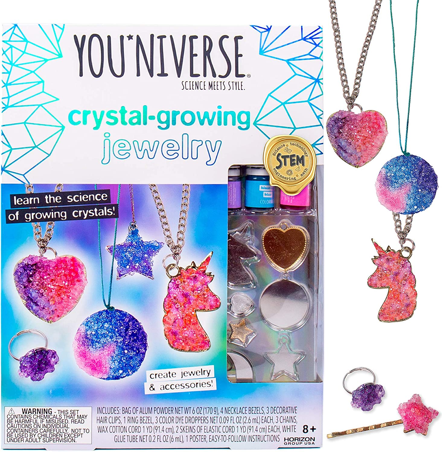 Youniverse Crystal Growing Jewelry by Horizon Group USA,Girl Stem DIY Science Craft Kit. Design 8 Crystal Growing Accessories.Make Your Own Crystal Pendants,Sparkling Hair Pins,Ring & More