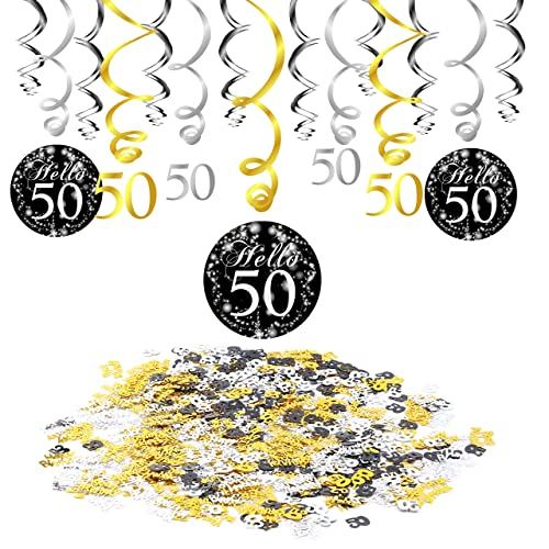 Konsait 50th Birthday Decoration Hanging Swirl 15 Counts Happy