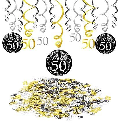 50 Anni Compleanno Decorazione Konsait Nero Appeso Soffitto Spirale