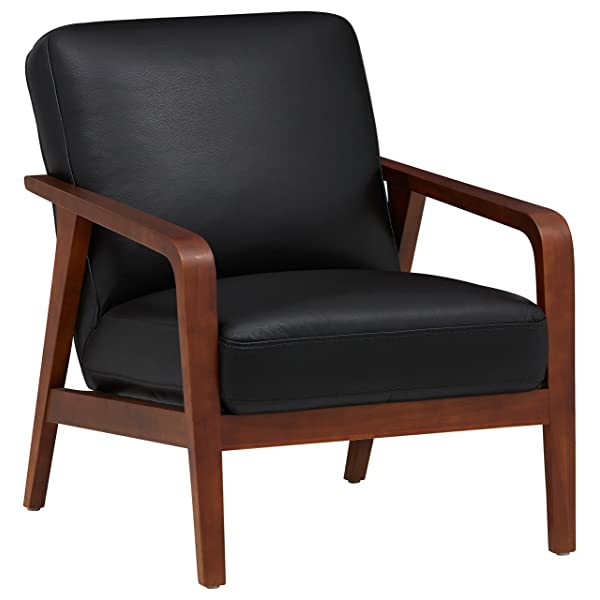 Rivet Huxley Leather Mid-Century Accent Chair, Black Leather