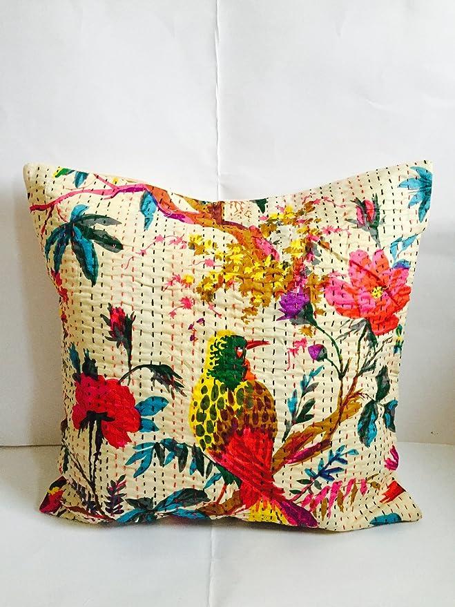 """Standard Size Bird Print Kantha Pillow Shams Kantha Pillow Cover 12/""""x20/"""" Indian"""