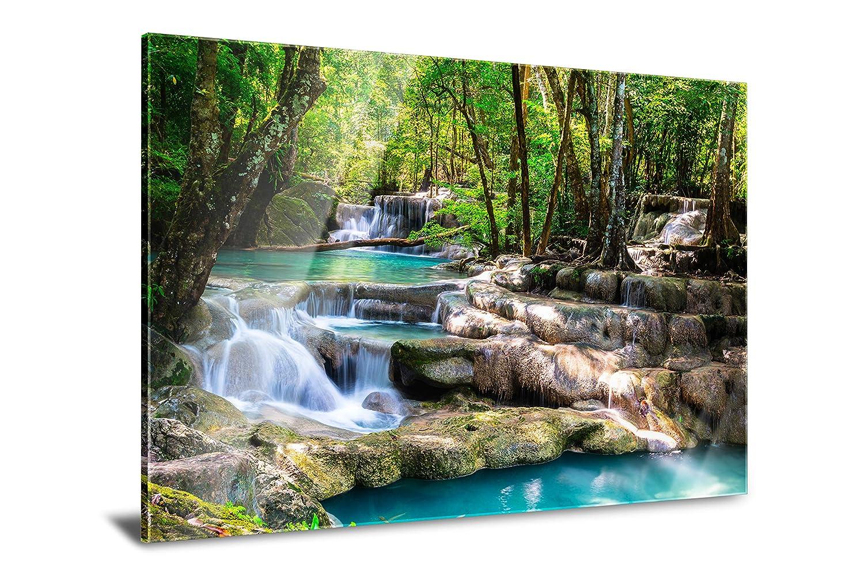 PMP 4life. XXL Poster für Ihr Zuhause, Wanddeko für das Wohnzimmer Schlafzimmer Küche usw. (Acrylglas | 120 cm x 85 cm, Wasserfall Wald)