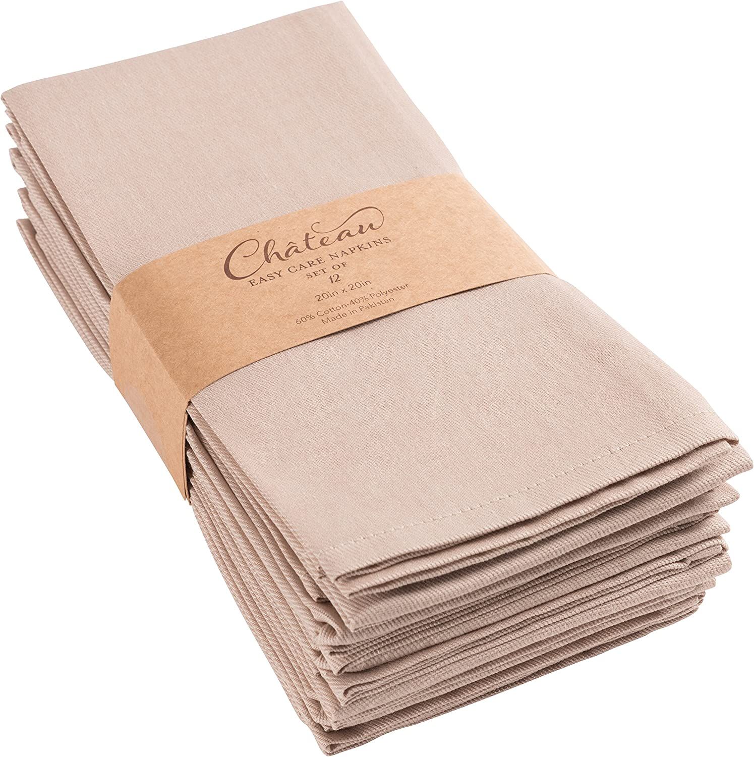 KAF Home Chateau Easy-Care Cloth Dinner Napkins 20 x 20 inches - Navy Blue Set of 12 Oversized