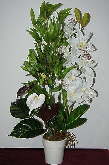 Orchidee Bambus Buro Deko Kunstblume Tischdeko Pflanze Blumen